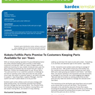 Case Study - Distribution Space Savings - Kubota
